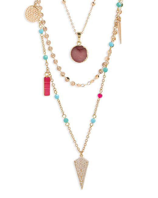 Panacea - Multicolor Multi Stone Layered Necklace - Lyst