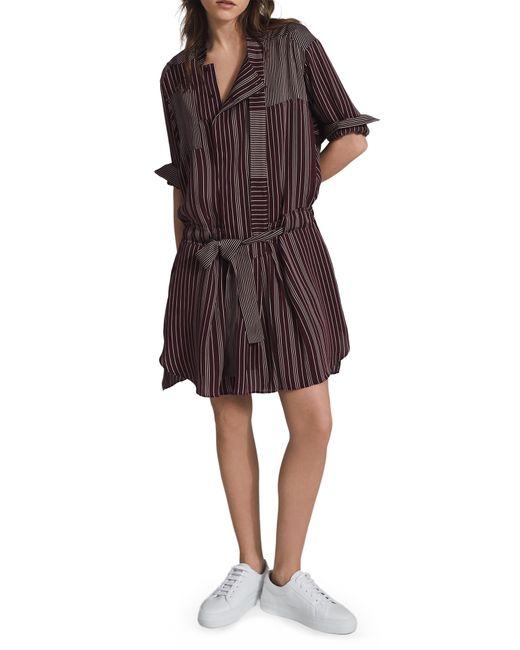 Reiss Multicolor Albi Drop Waist Belted Long Sleeve Shirtdress