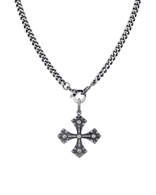Sheryl Lowe Metallic Gothic Cross Pendant Necklace With Diamonds