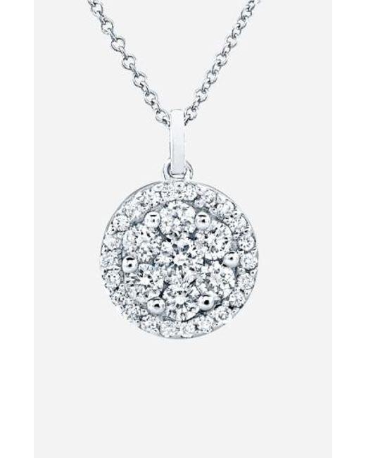 Bony Levy | White Flower Button Diamond Pendant Necklace (nordstrom Exclusive) | Lyst