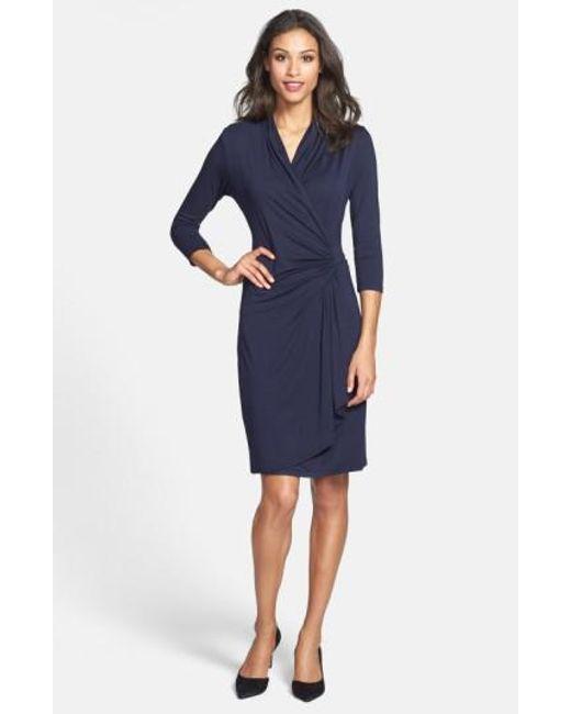 Karen Kane   Blue Cascade Faux Wrap Dress   Lyst