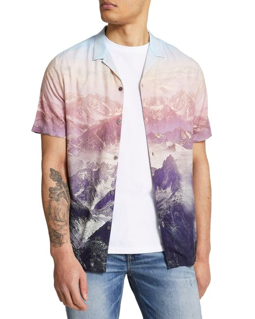 River Island Pink Large Palm Print Short Sleeve Button-up Camp Shirt for men