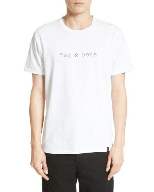Rag bone glitch logo t shirt in white for men lyst for Rag and bone white t shirt