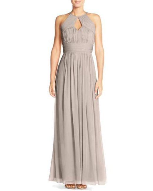 Dessy Collection | Natural Ruched Chiffon Keyhole Halter Gown | Lyst