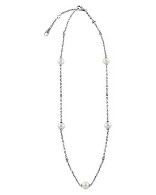 Lagos - Metallic 'luna' Pearl Station Necklace - Lyst