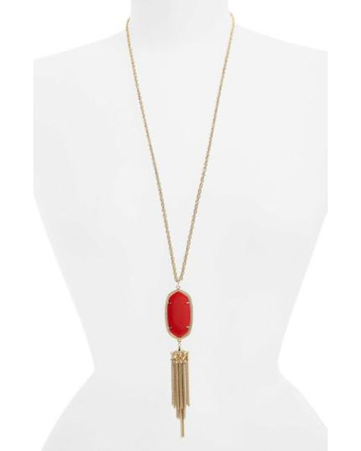Kendra Scott | Red 'rayne' Tassel Pendant Necklace | Lyst