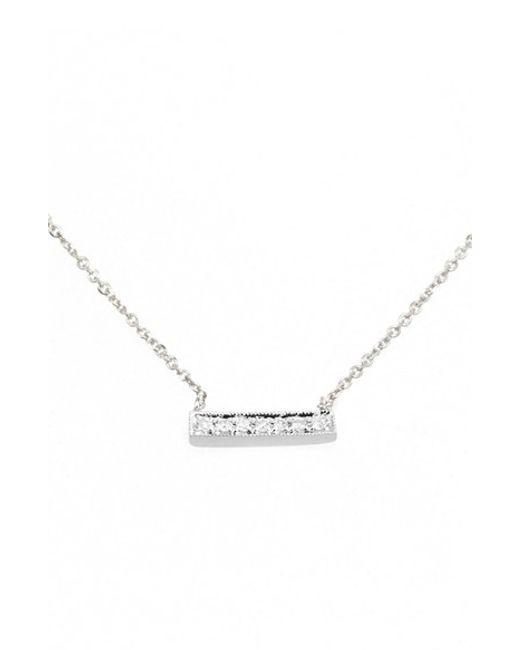 Dana Rebecca | White 'sylvie Rose' Diamond Bar Pendant Necklace | Lyst