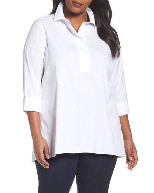 Foxcroft | White Bre Non Iron Stretch Cotton Tunic | Lyst
