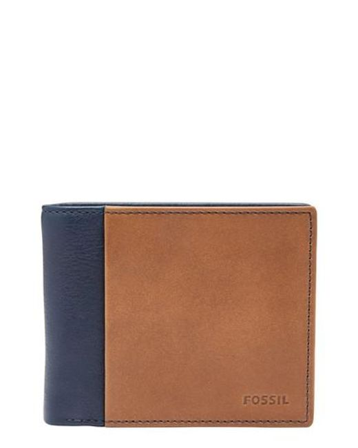 Fossil - Blue Ward Leather Wallet for Men - Lyst