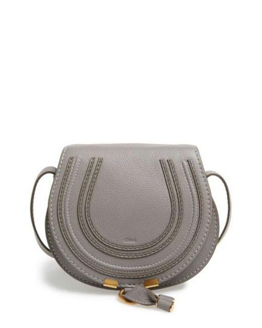 Chloé | Gray 'mini Marcie' Leather Crossbody Bag | Lyst