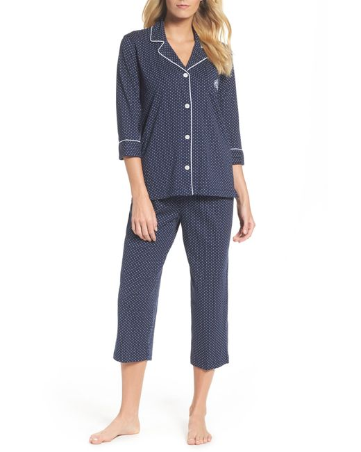 Lauren by Ralph Lauren Blue Knit Crop Cotton Pajamas