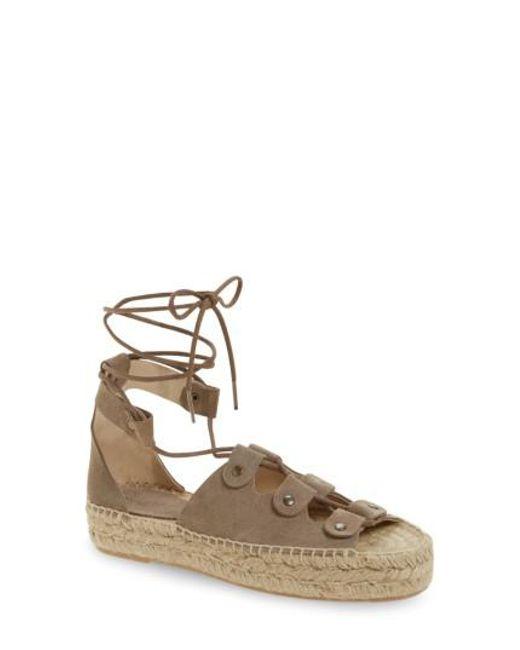 Soludos | Gray Ghillie Platform Sandal | Lyst
