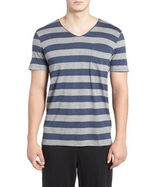 Daniel Buchler | Blue Stripe Pima Cotton & Modal V-neck T-shirt for Men | Lyst