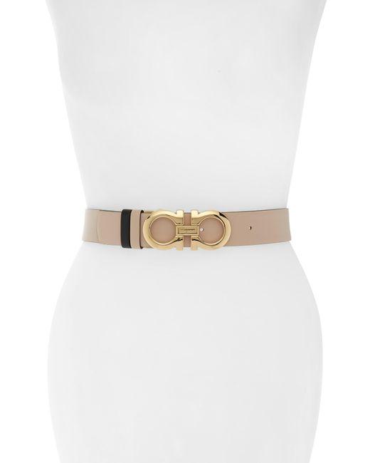 Ferragamo Natural Reversible Gancini Leather Belt