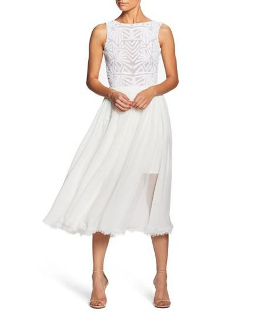 Dress the Population - White Cathy Sequin Tea Length Dress - Lyst