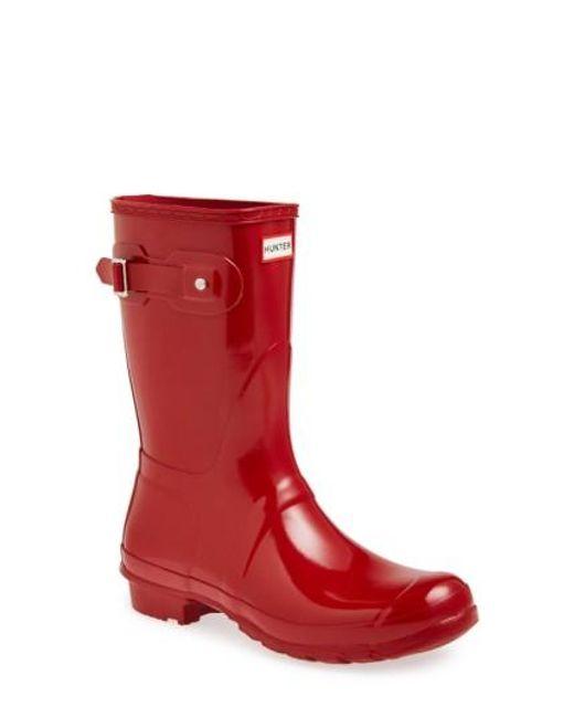 Hunter | Red 'original Short' Gloss Rain Boot | Lyst