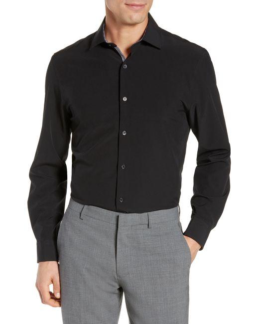 W.r.k. Black Trim Fit Solid Performance Stretch Dress Shirt for men