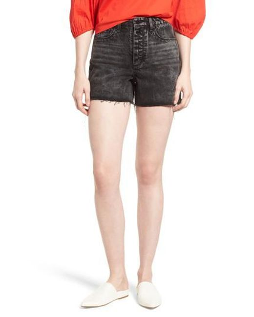 Habitual - Black Maddie High Rise Raw Edge Denim Shorts - Lyst