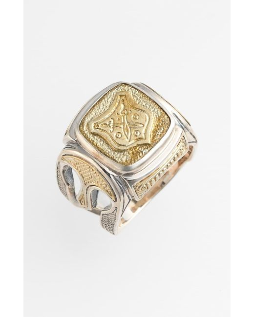 Konstantino Metallic 'byzantium' Two-tone Rectangle Shield Ring for men