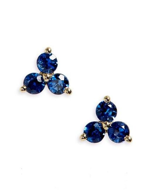 EF Collection - Blue Trio Precious Stone Stud Earrings - Lyst