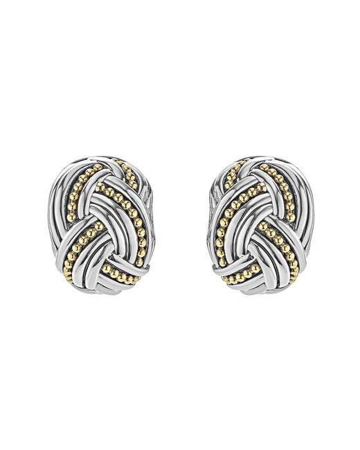 Lagos - Metallic Torsade Rectangle Omega Earrings - Lyst