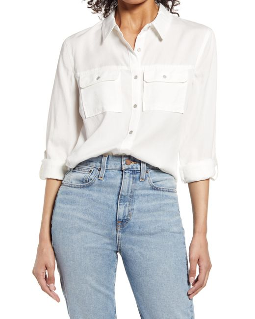 Vince Camuto White Roll Tab Button-up Shirt