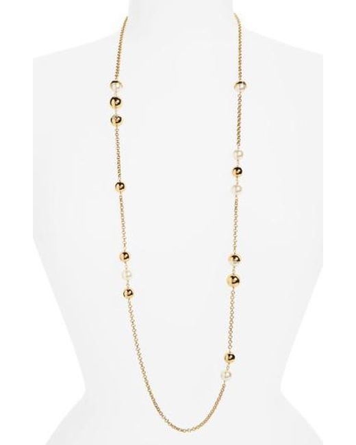 Tory Burch - Metallic Imitation Pearl Station Necklace - Lyst