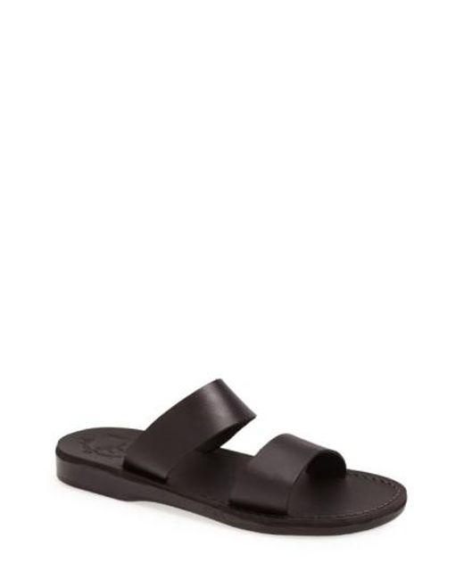 Jerusalem Sandals | Black 'aviv' Leather Sandal for Men | Lyst