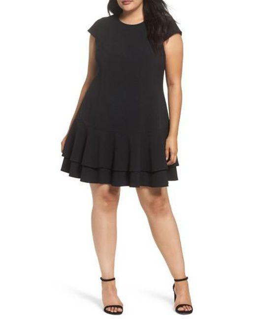 Eliza J | Black Crepe Drop Waist Dress | Lyst
