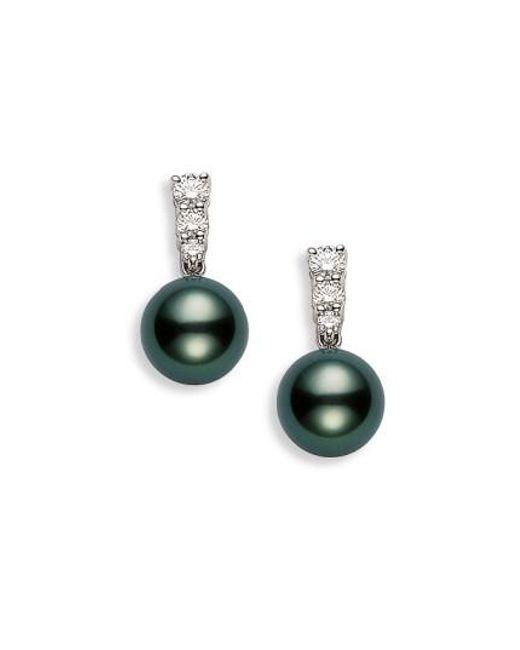 Mikimoto - White 'morning Dew' Black South Sea Cultured Pearl & Diamond Earrings - Lyst