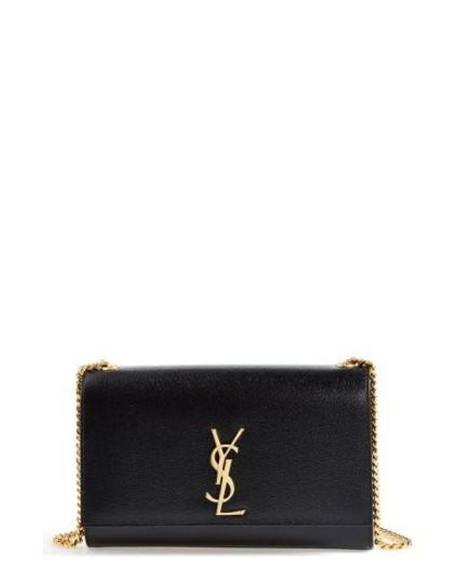 Saint Laurent - Black 'medium Kate' Leather Chain Shoulder Bag - Lyst