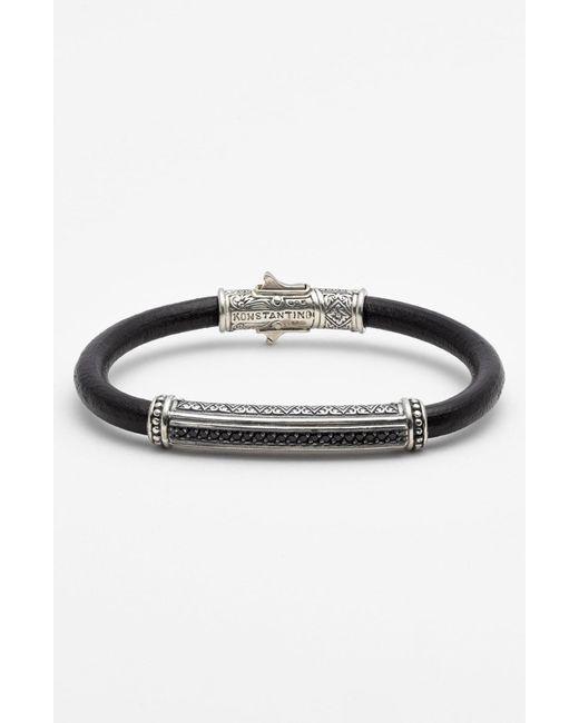 Konstantino Metallic 'plato' Leather Bracelet for men