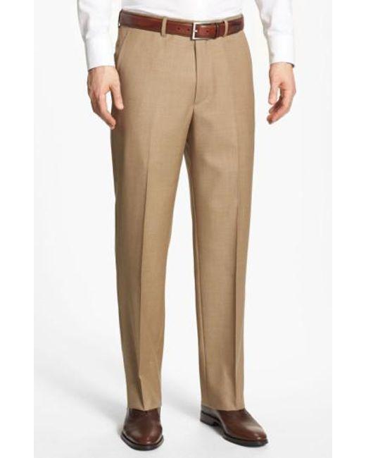 Santorelli | Brown Flat Front Wool Trousers for Men | Lyst