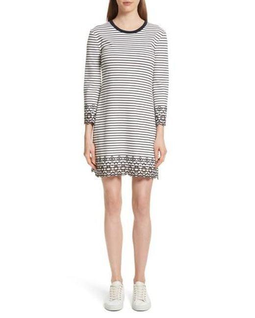 10 Crosby Derek Lam - White Embroidered Stripe Knit Dress - Lyst