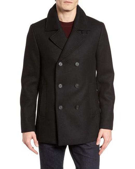 Ted Baker | Black Zachary Trim Fit Double Breasted Peacoat for Men | Lyst