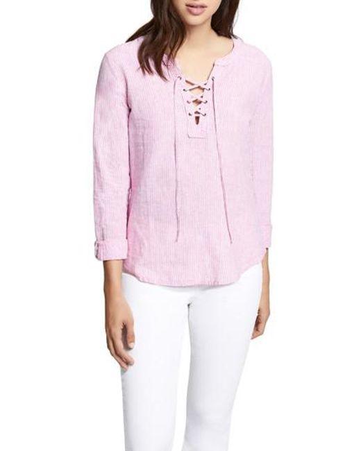 Sanctuary - Pink Tommie Lace-up Stripe Shirt - Lyst