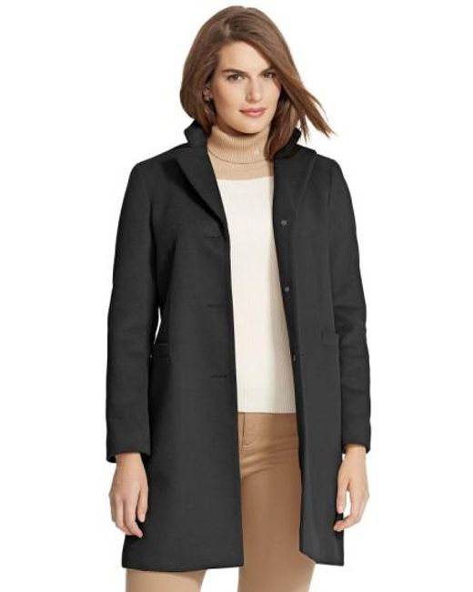 Lauren by Ralph Lauren | Black Wool Blend Reefer Coat | Lyst
