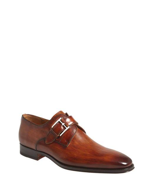 Magnanni Shoes Brown Marco Plain Toe Monk Shoe for men