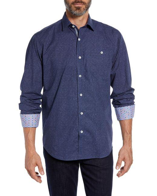 Bugatchi - Blue Classic Fit Melange Sport Shirt for Men - Lyst