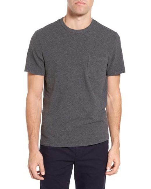 James Perse | Gray Sueded Jersey Pocket T-shirt for Men | Lyst