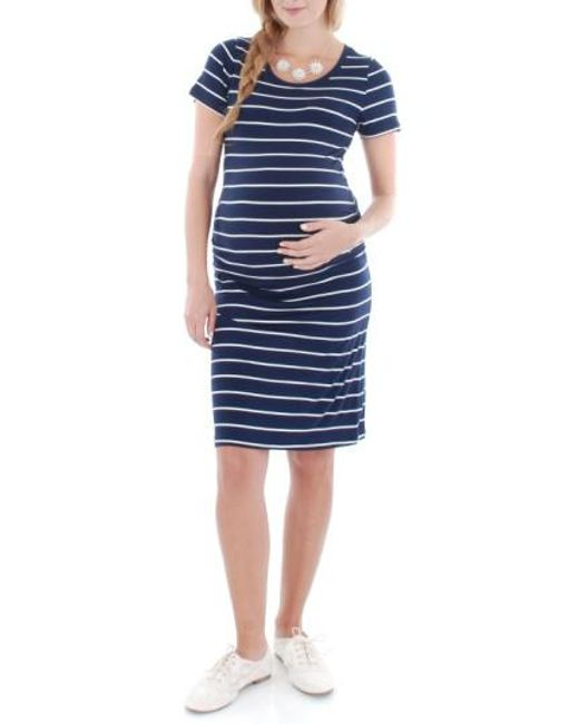 Everly Grey | Blue 'camila' Stripe Maternity Dress | Lyst