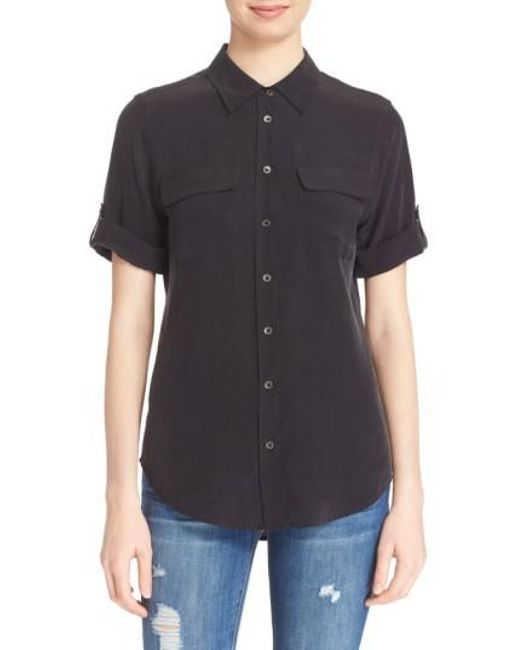 Equipment | Black Slim Signature Short Sleeve Silk Shirt | Lyst