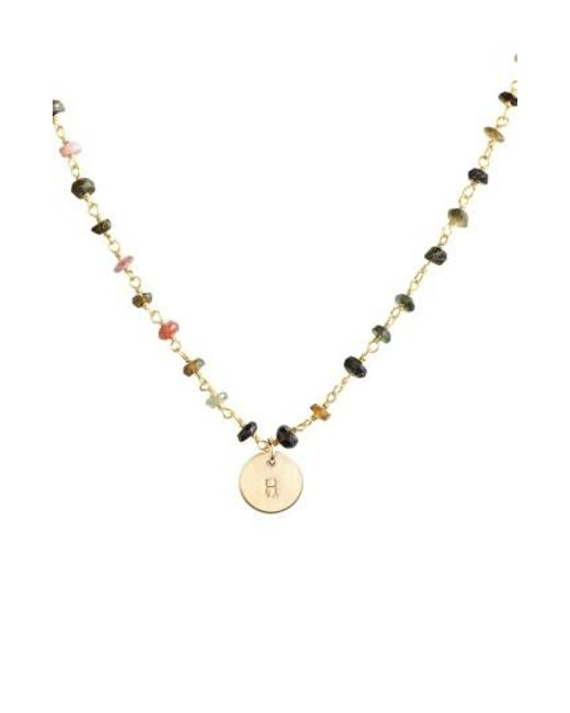 Nashelle | Multicolor 14k-gold Fill Mini Initial Disc Tourmaline Chain Necklace | Lyst
