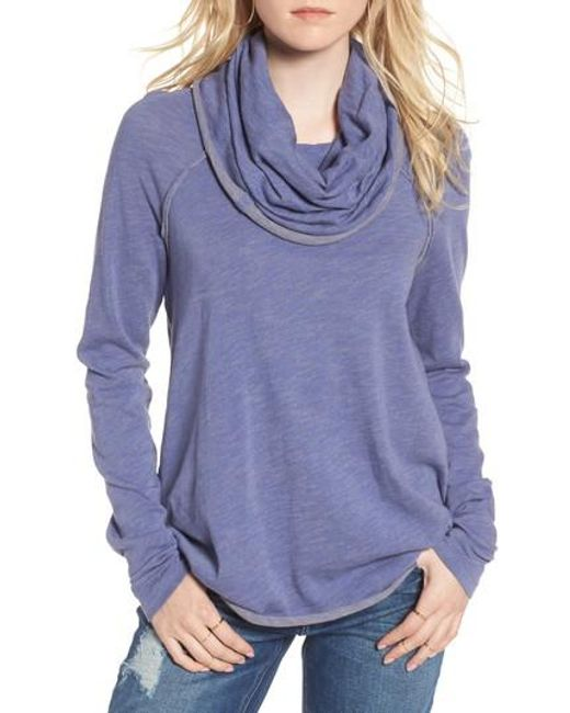 Free People | Blue 'beach Cocoon' Cowl Neck Pullover | Lyst