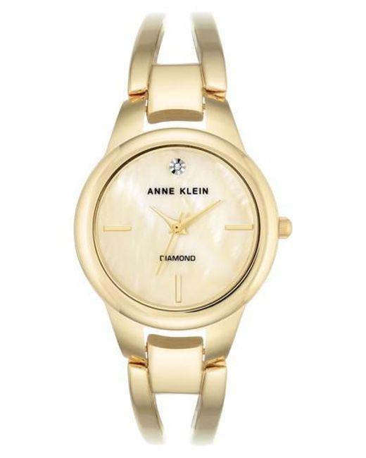 Anne Klein   Metallic Diamond Oval Bangle Watch   Lyst