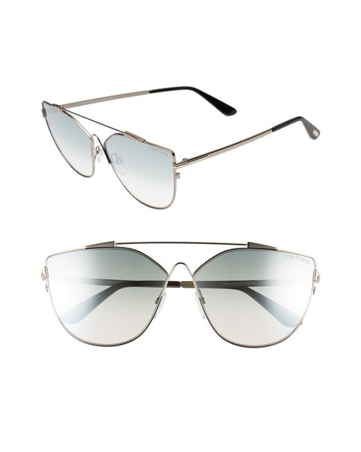 Tom Ford - Jacquelyn 64mm Cat Eye Sunglasses - Light Ruthenium/ Blue Mirror - Lyst