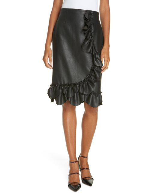 Rebecca Taylor - Multicolor Faux Leather Ruffle Skirt - Lyst