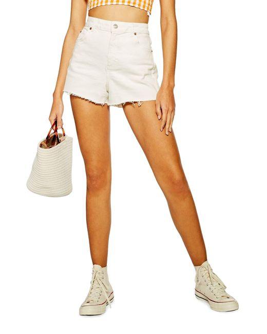 TOPSHOP White Premium Denim Mom Shorts