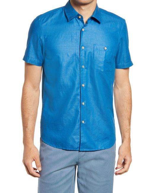 Ted Baker White Civiche Linen & Cotton Button-up Shirt for men