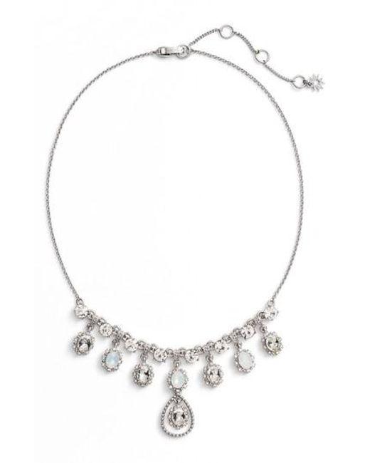 Marchesa   Metallic Crystal Frontal Necklace   Lyst
